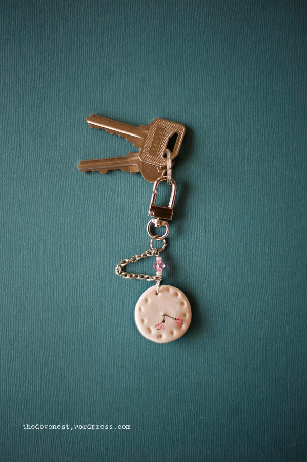fimo pocket watch keyring